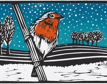 Unframed Linocut Print - Winter Robin