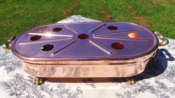 French Vintage Copper Food Warmer with Cast Brass Lion Feet and Cast Brass Handles - Gorgeous! Copper Kitchen Plate Warmer Copper Pan Warmer