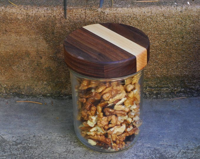 3 Wooden Mason Jar Lids with Seal - True screw top - Wide Mouth - Walnut/Maple
