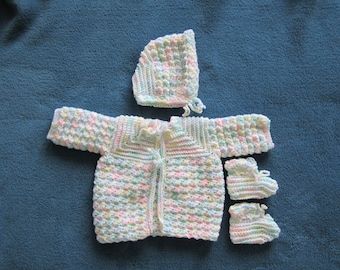 Crocheted 0 to 3 Month Sweater Set, Baby Outfit