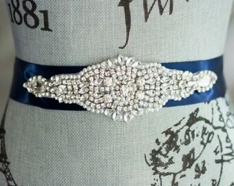 Wedding Sash Belt, Pearl Crystal Sash, Rhinestone wedding sash, Bridal Belt, Satin Ribbon Wedding Sash, Bridesmaid Sash/Belt, Navy Blue Sash