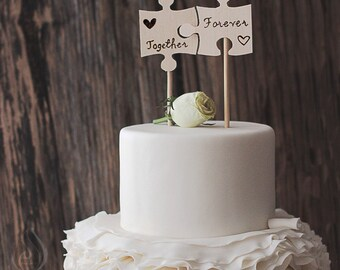Rustic Cake Topper - Puzzle Pieces - Woodsy Cake - Woodsy Wedding - Puzzle Cake Topper - Wooden Cake Topper - Woodsy Wedding Cake Topper