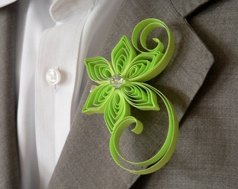 Chartreuse Wedding Boutonniere Flowers, Yellow Green Boutonniere, Men's Buttonholes for Weddings, Groom Wedding Style Buttonhole