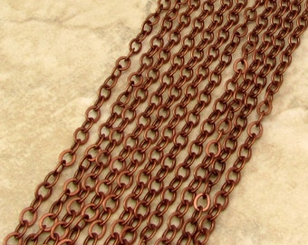 Flat Cable Chain, Soldered, 5mm, Antique Copper, 3 Ft. AC187