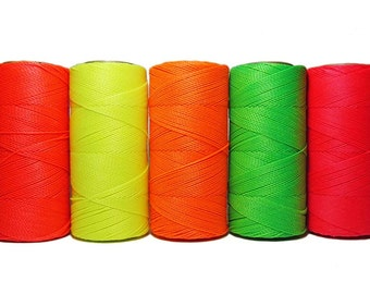 Macrame Cord * Waxed Polyester Cord* Micro Macrame* Jewelry String* Linhasita * Set of 5 Colors - 10 meters each color - NEON