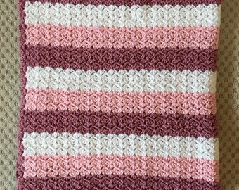 Striped Baby Girl Crocheted Afghan