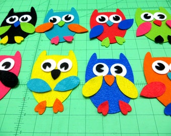 80 Pieces, 8 Sets Die Cut Cute Felt Owls For Easter, Spring, Christmas Themes DIY Kits