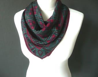 Designer silk scarf - Codello silk scarf - Italian silk scarf - pink green and black check silk scarf - vintage  silk scarf