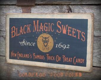 Primitive, Folk Art ,Halloween, Black Magic Sweets wall sign