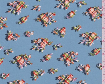 Sky Blue Floral Crepe de Chine, Fabric By The Yard