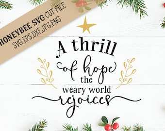 A Thrill of Hope Christmas Farmhouse svg cut file for Silhouette and Cricut cut machines