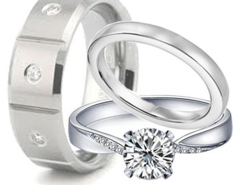 3 piece Sterling Silver & Stainless Steel Engagement Rings Wedding Ring Set