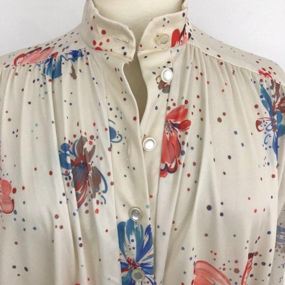 1970s maxi dress long full sheer sleeves vintage bold flower power print psychedelic flared muu muu A line kaftan dress UK 14 16 peach cream