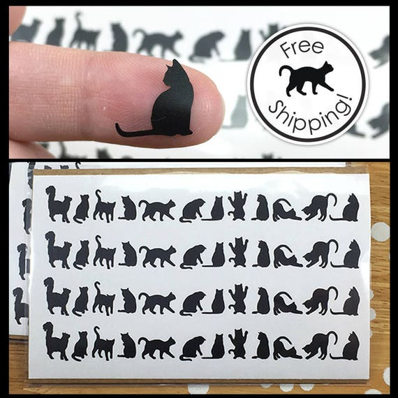 Cat decals cat laptop decals tiny black cat stickers small cat silhouette vinyl decal itty bitty kitty laptop decal from jaycatdesigns on etsy studio