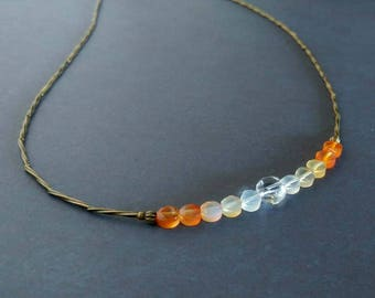 Faceted Round Yellow & Orange Citrine and Crystal Ombre Gemstones on Antiqued Gold Plated Brass