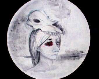 "Original Acrylic Painting on Vintage Vinyl Record - ""skull"""