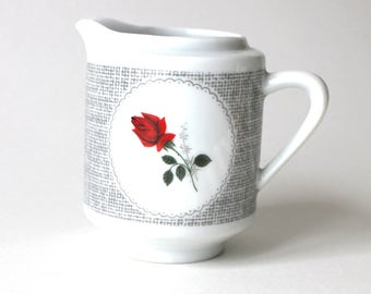 Sweet Little Vintage Creamer with a Dainty Rose for your Morning