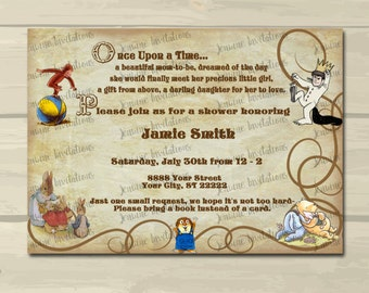 Vintage Storybook Baby Shower Invitations, storybook baby shower invitation,5x7, Printed or Digital File*** FREE SHIPPING