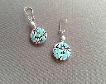 2 button dark blue flowers for pierced earrings