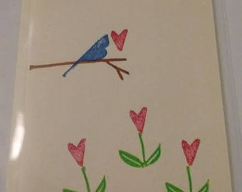 Hand stamped Blank Note Card