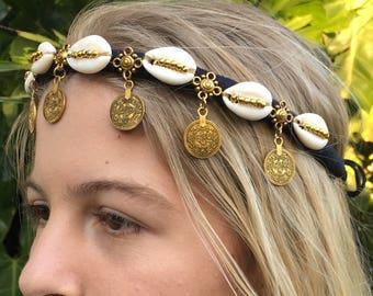 Gold Coin Kuchie Shell Crown, Headband