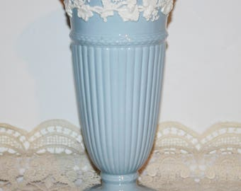 "Wedgwood  Etruria Barlaston  Blue Embossed Queensware Trumpet Vase  England  10.75"""