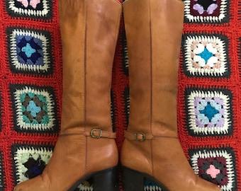 Vintage 1970s Knee High Brazilian Tan Boots size 7.5