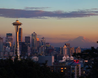 Seattle Skyline at Sunset |  Pacific Northwest Photography | Print | Metal, Canvas, Lustre
