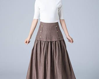brown linen skirt, pleated skirt, button skirt, retro skirt, midi skirt, high waisted skirt, ethic skirt, womens skirt, gift ideas 1783