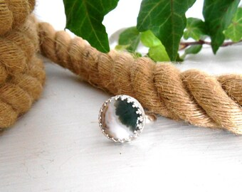 Ocean Jasper Ring, Size 6, Sterling Silver Ring, Boho, Beach, White with Greens and Cream, Everyday Ring, Modern Minimalist Ring, Ocean Ring