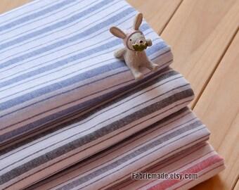 Vintage Stripes Fabric, Yarn Dye Stripes Blue Red Grey Soft Cotton Linen Fabric- 1/2 Yard