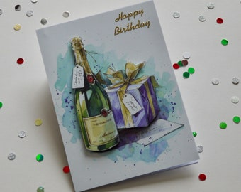 Handmade Birthday Card, Greeting card, Happy Birthday, Congratulations, Bubbly, Gifts
