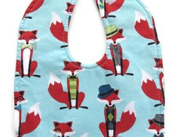 FREE SHIPPING TO U.S. - Reversible Little Foxes Baby Bib - Red Fox Baby Bib - Gender Neutral Bib - Foxes Toddler Bib