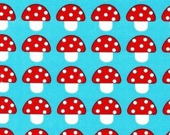 Patchwork mushrooms Kaufman turquoise fabric