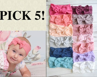 PICK 5 Nylon Bow Headwrap, One size fits all nylon headbands, wide nylon headbands, baby headbands, baby shower CLASSIC Knot Nylon Headwrap