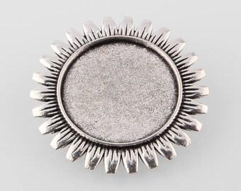 5 Antique Silver Cabochon Pin/Pendant Settings 35mm (Tray 25mm )  (B92i/486g)
