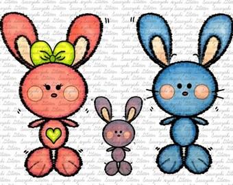 Bunny Family Digital Stamp By Sasayaki Glitter