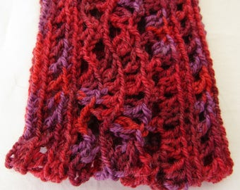 Crocheted Head Band Lacy Shell Pattern Crimson Washable Wool and Acrylic Yarn