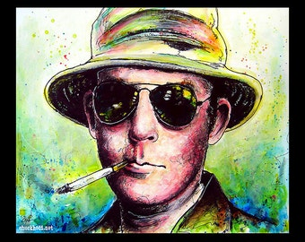 """Print 11x14"""" - Hunter S Thompson - Dr Gonzo Fear and Loathing in Las Vegas Drugs Alcohol Author Journalism Pop Art Surreal Spooky LOL LSD"""