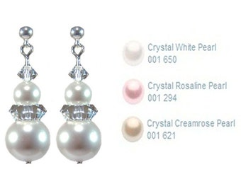 Sterling Silver 10mm Pearl and Crystal drop earrings handmade with Swarovski® Elements