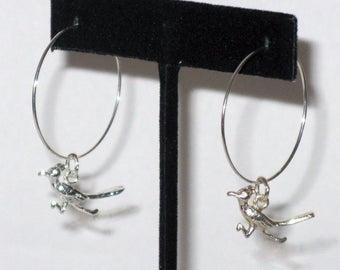 Sterling Silver Roadrunner Hoop Earrings