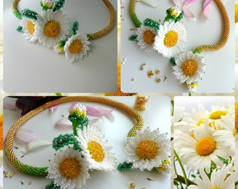 Beaded necklace for women , Chamomile Necklace , Beaded flowers , Beaded Jewelry , Daisies beaded , White flowers , Flowers Handmade