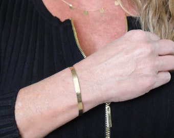 5mm Gold Cuff Bracelet, Sleek 14K Gold Hammered or Not Hammered Bracelet, 14K Yellow, White, or Rose Gold