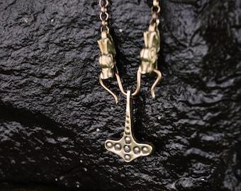 Bronze Flekstad Thors hammer on Dragon head chain