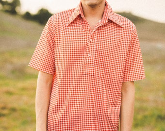 Vintage Red & White Houndstooth Shirt (Mens)