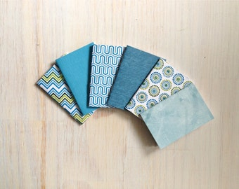 Notebooks: 6 Tiny Journal Set, Blue, Green, Favors, Small Notebooks, For Her, For Him, Gift, Unique, Mini Journals, Cute, Wedding, T101