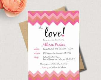 Pink Chevron Bridal Shower Invitation - 5x7 - Custom Bridal Shower Invite - DIY Printing *DIGITAL FILE*