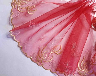 lace embroidery red gold semi-heavy 22cm wide x1m