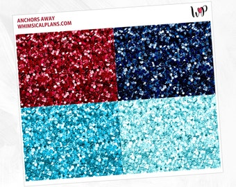 Anchors Away Glitter Headers | Matte Glossy Planner Stickers
