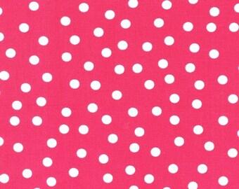 Robert Kaufman - Remix - Polka Dots in Bright Pink white dots on hot pink fuschia background - cotton fabric - HALF YARD cut